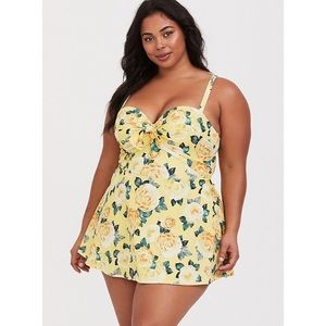 Yellow Floral Swim Dress